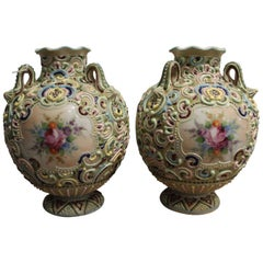 Pair of Round Moriage Nippon Vases, Beginning of the 20th Century, Porcelain