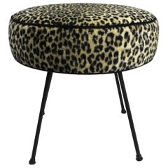 Mid Century  Leopard Upholstered Pouf Ottoman on Wrought Iron Legs