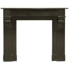 Antique Black Marble Fireplace Mantel