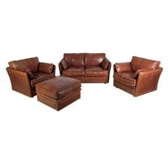 1960s Roche Bobois Chestnut Leather Salon Set with Brass Detail