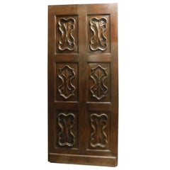 Antique Brown Wood Thin Door Carved, Italy 1700, Walnut Elegant with Spider Web