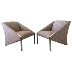 Pair of Post-Modern Chrome Lounge Chairs