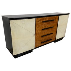 1940s Italian Black, Maple and Parchment Sideboard