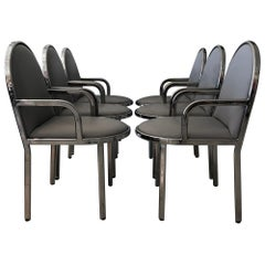 Set of 6 Rougier Post Modern Chrome Dining Chairs