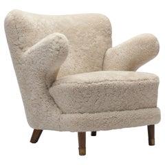 Danish 1940s Sheepskin Lady Bear Chair with Brass Toes