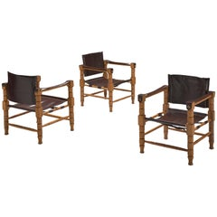 Set of Three Safari Chairs with Sculptural Wooden Frames