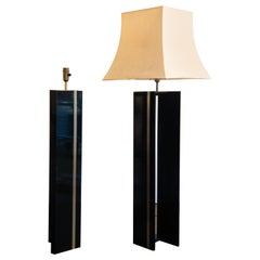 Pair of Black Lacquered Brass Art Deco Table Lamps from France, 1940s