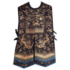 Antique Chinese Xiape Ladies Court Embroidered Waistcoat 5th Rank 19th Century