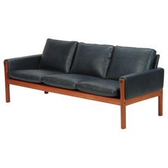 Hans Wegner AP 62 Sofa Teak & Leather Denmark, 1960s