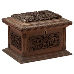 Antique Chinese Canton Carved Wooden Jewelry Box, 19th Century