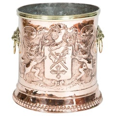 Copper & Brass Repoussé Planter with Armorial Decoration in the Louis XIV Style