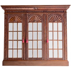 French Heavily Carved Oak Bookcase Three Door Glazed Napoleon III, circa 1870