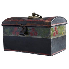 19th Century Hand Painted Dome Top Tole Document or Deed Box