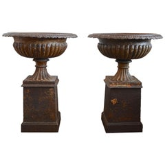 Pair of Large French Empire Style 19th Century Cast Iron Garden Urns