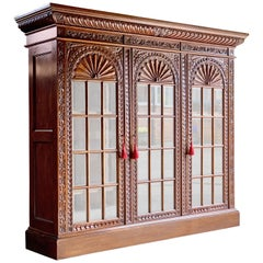 French Heavily Carved Oak Bookcase Three-Door Glazed Napoleon III, circa 1870