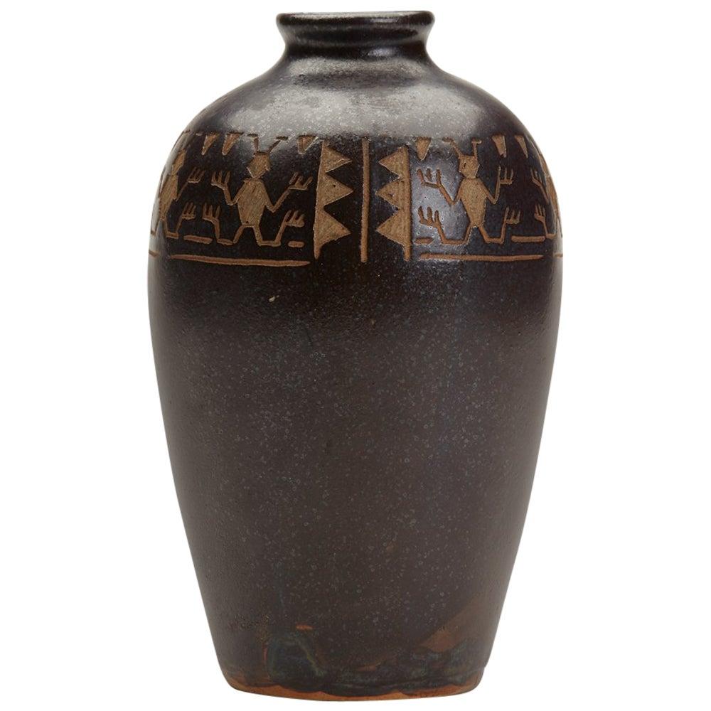 Vintage Japanese Studio Pottery Stoneware Insect Design Vase, Signed