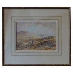 Scottish 'Stalking in the Highlands' Watercolor Signed William Henry Earp