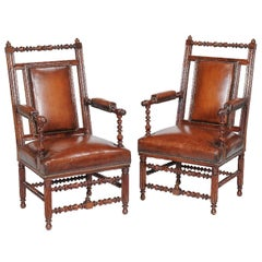 Pair of 19th Century English Victorian Gothic Revival Walnut Armchairs