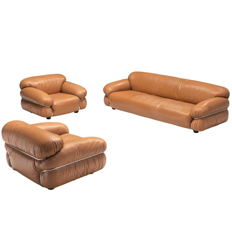 Gianfranco Frattini 'Sesann' Livingroom Set in Original Cognac Leather For Sale