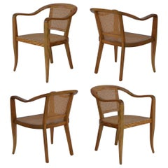 Set of Four Sculptural Midcentury Armchairs