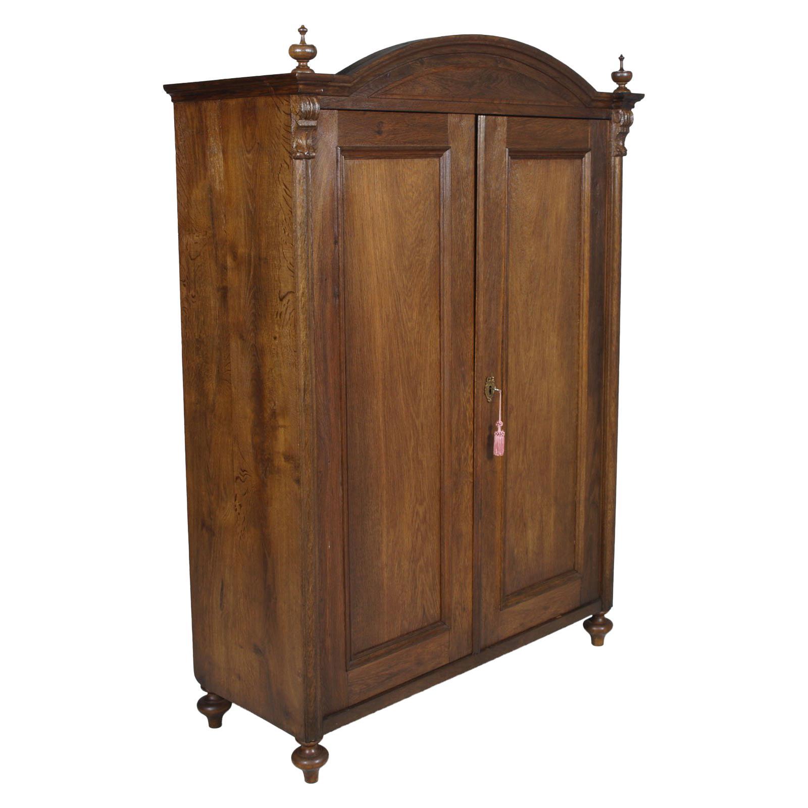 19th Century Austrian Neoclassic Wardrobe Closet in Massive Oak Wax Polished