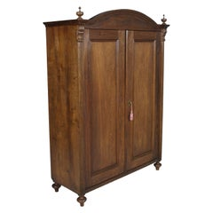 19th Century Austrian Neoclassic Wardrobe Closet in Massive Oak Wax Polished