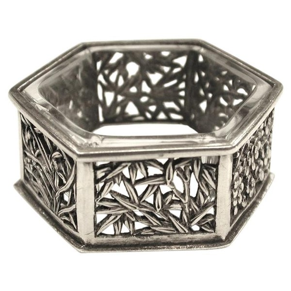 Hexagonal Chinese Silver Salt Cellar, Cumwo, Hong Kong, circa 1890