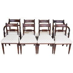 19th Century English Set of 8 Regency Mahogany Dining Chairs