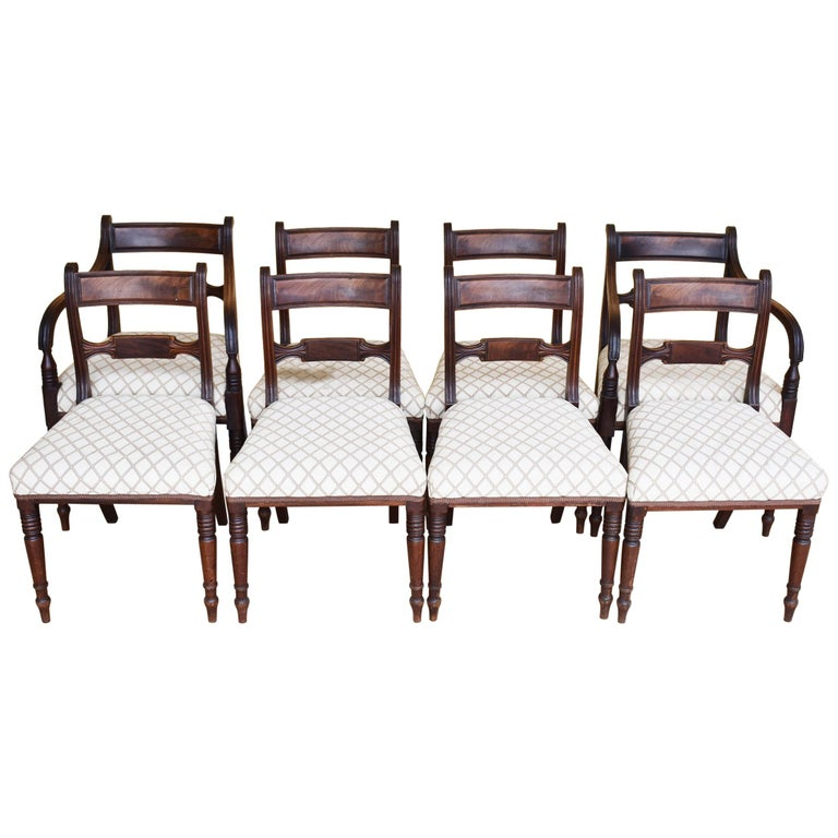 19th Century English Set of 8 Regency Mahogany Dining Chairs For Sale