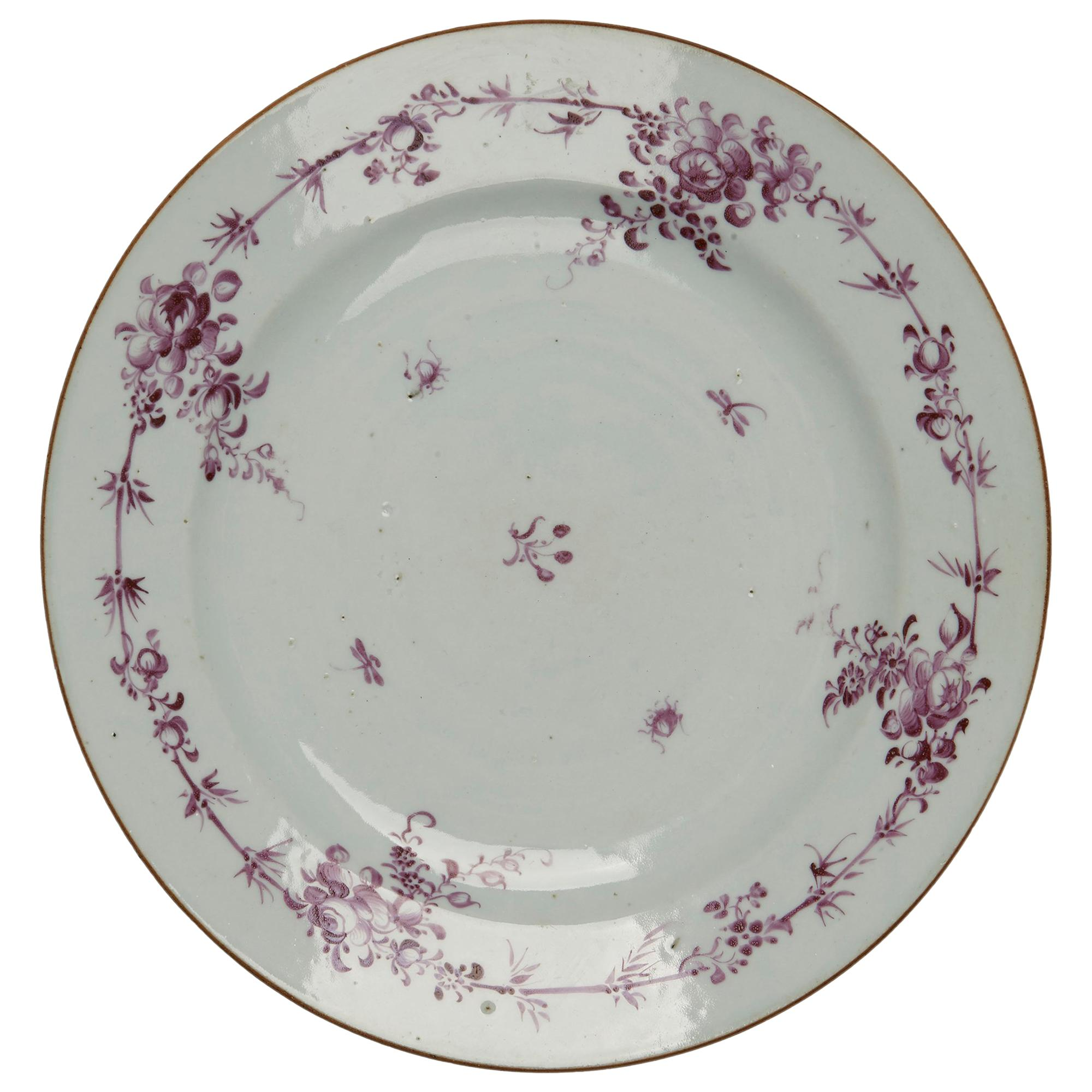 Chinese Qianlong Puce Decorated Porcelain Plate, 18th Century