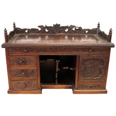 Hardwood Chinese Oriental Gothic Dark Carved Wood Chest Cabinet