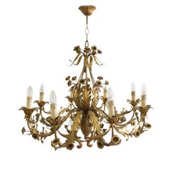 Huge French Gilt Flowers and Leaves Chandelier, 1950s