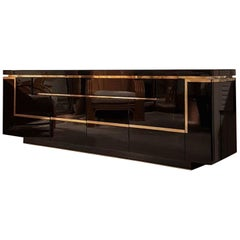 Black Lacquered and Brass Sideboard Credenza by Jean Claude Mahey, France, 1970s