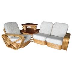 Restored Six-Strand Square Pretzel 3-Seat Rattan Corner Sofa with Side Table