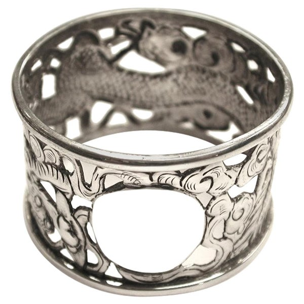 Chinese Silver Dragon Napkin Ring Dated circa 1900