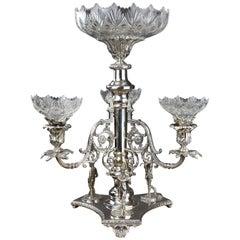 19th Century Silver Plate Golfing Candelabra Trophy / Centre Piece