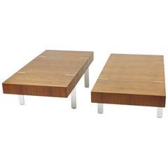 Pair of Modernist Walnut Coffee Tables