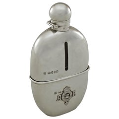 Rare Sterling Silver Cased Spirit-Flask with Royal Coat of Arms, Hallmarked 1874