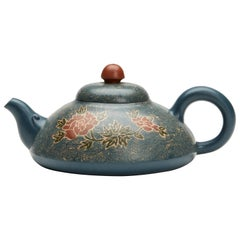Chinese Floral Yixing Teapot Signed Xiaoquin Shi Dated 2000