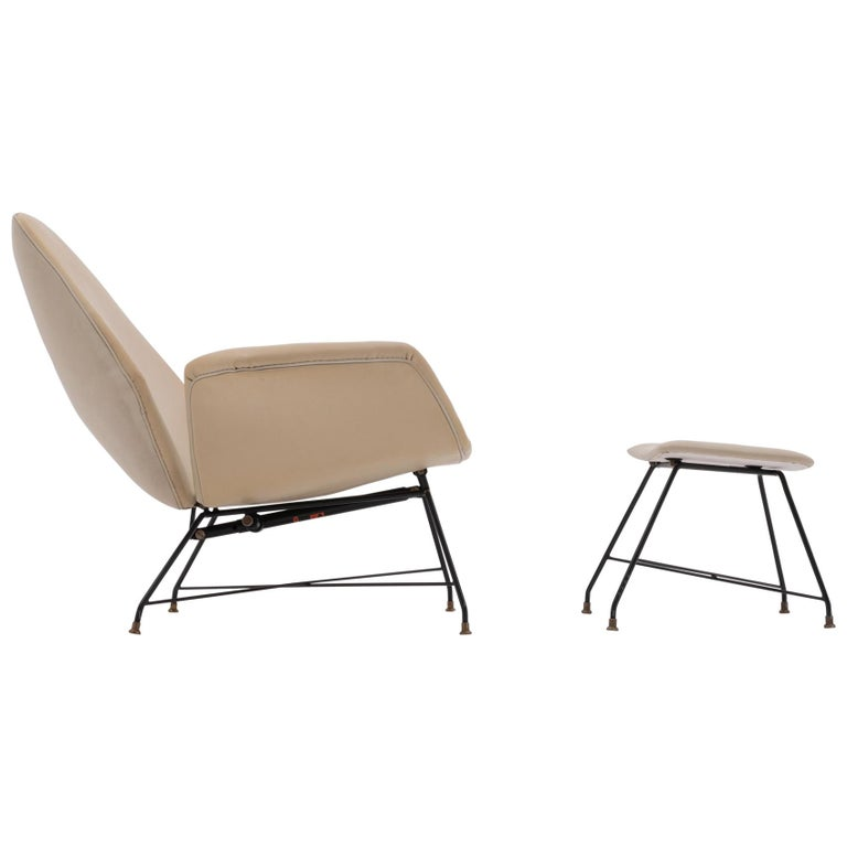 Recliner Lounge Chair 'Lotus' with Hocker by Augusto Bozzi for Saporiti, 1960s For Sale