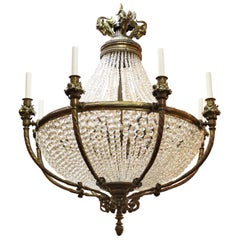 French Belle Epoque Chandelier in Bronze and Crystal