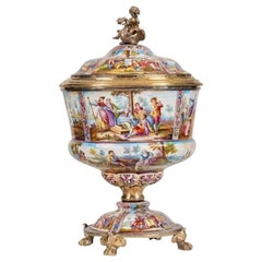 Very Fine Viennese Silver-Gilt-mounted Enameled Cup and Cover by Karl Rossler