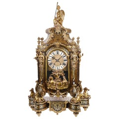 Large 19th Century French Boulle Inlaid Mantel Clock
