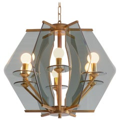 Italian Chandelier with Brass And Smoked Glass