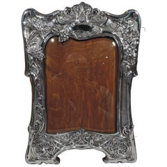 Antique English Art Nouveau Sterling Silver Picture Frame