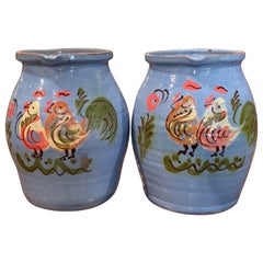 Pair of Midcentury French Hand Painted Terracotta Pitchers from Normandy