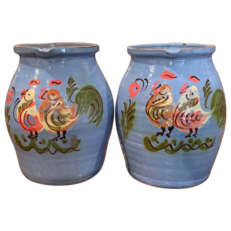 Pair of Midcentury French Hand Painted Terracotta Pitchers from Normandy For Sale
