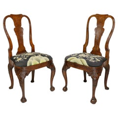 Pair Of George II Walnut Side Chairs, Possibly Dutch