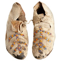 1930s Pair of Sioux Adult Natural Buckskin Moccasins with Old Beads