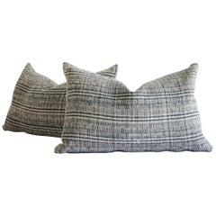 Homespun Linen Lumbar Pillows Made from Vintage Indigo Stripe and Linen